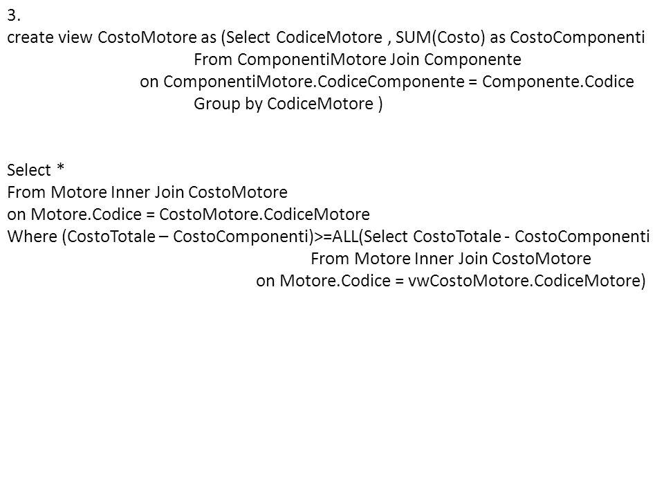 Esercizio (tde 1-2-2008) Il seguente schema rappresenta le informazioni riguardo alla gestione di una videoteca: DVD (CodiceDVD, TitoloFilm, Regista, Durata) C LIENTE ( CodiceFiscale, Nome, Cognome, Indirizzo, Telefono, Categoria ) N OLEGGIO ( CodiceFiscale, CodiceDVD, DataInizio, DataFine, CostoGiornaliero ) 1.Scrivere in SQL linterrogazione che estrae i clienti che hanno noleggiato due film dello stesso regista.