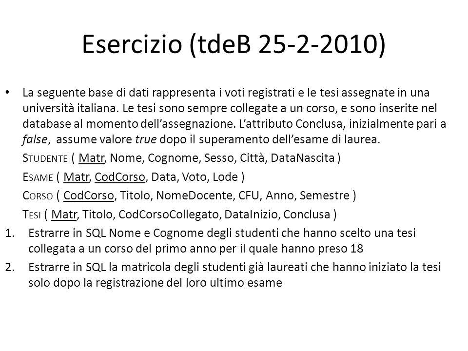 Esercizio (tdeB 25-2-2010) La seguente base di dati rappresenta i voti registrati e le tesi assegnate in una università italiana. Le tesi sono sempre
