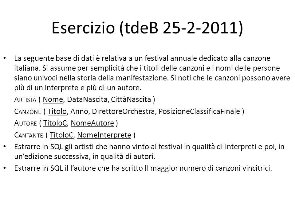 Esercizio (tdeB 25-2-2011) La seguente base di dati è relativa a un festival annuale dedicato alla canzone italiana. Si assume per semplicità che i ti