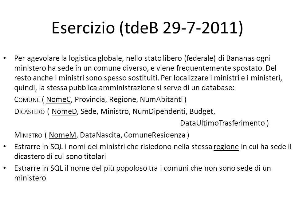 Esercizio (tdeB 29-7-2011) Per agevolare la logistica globale, nello stato libero (federale) di Bananas ogni ministero ha sede in un comune diverso, e