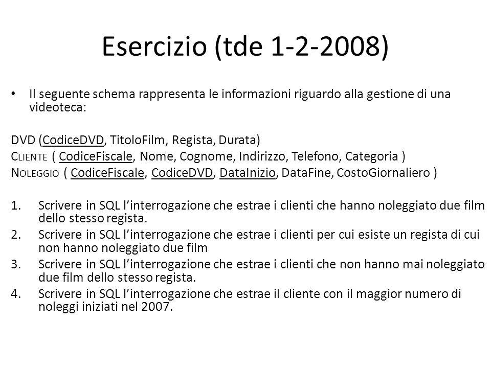 Esercizio (tde 25-2-2010) Il seguente schema rappresenta le informazioni riguardo alla gestione del personale e delle trasferte: DIPENDENTE ( Matricola, Cognome, Nome, Bonus ) TRASFERTA ( Matricola, DataPartenza, DataRitorno, Destinazione, Costo ) Scrivere in SQL linterrogazione che estrae per ogni dipendente la trasferta più costosa.
