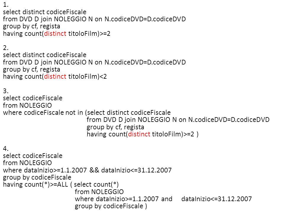 Esercizio (tdeB 16-9-2009) Si consideri la solita base di dati, relativa alla registrazione degli esami in una università lombarda: S TUDENTE ( Matricola, Nome, Cognome, DataNascita, CittàNascita ) E SAME ( Matr, CodCorso, Data, Voto ) C ORSO ( Codice, Nome, CFU, MatrDocente ) D OCENTE ( Matricola, Nome, Cognome, DataNascita, CittàNascita ) 1.Estrarre in SQL nome e cognome dei docenti titolari di almeno due corsi da 10 CFU 2.Estrarre in SQL Nome e Cognome degli studenti che non hanno mai preso due volte lo stesso voto.
