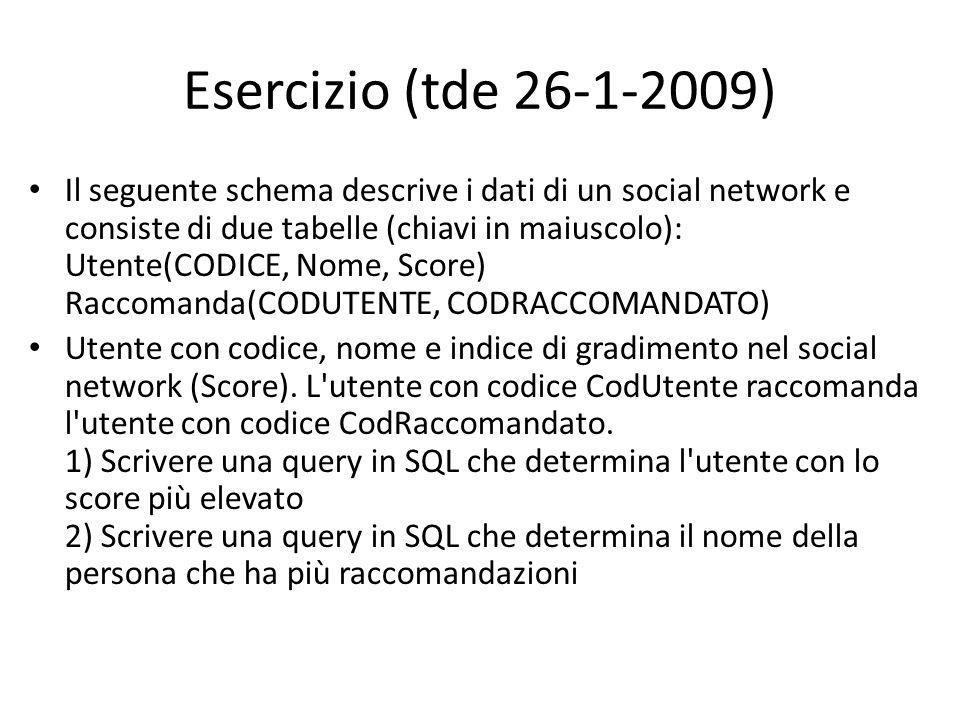 Esercizio (tde 26-1-2009) Il seguente schema descrive i dati di un social network e consiste di due tabelle (chiavi in maiuscolo): Utente(CODICE, Nome