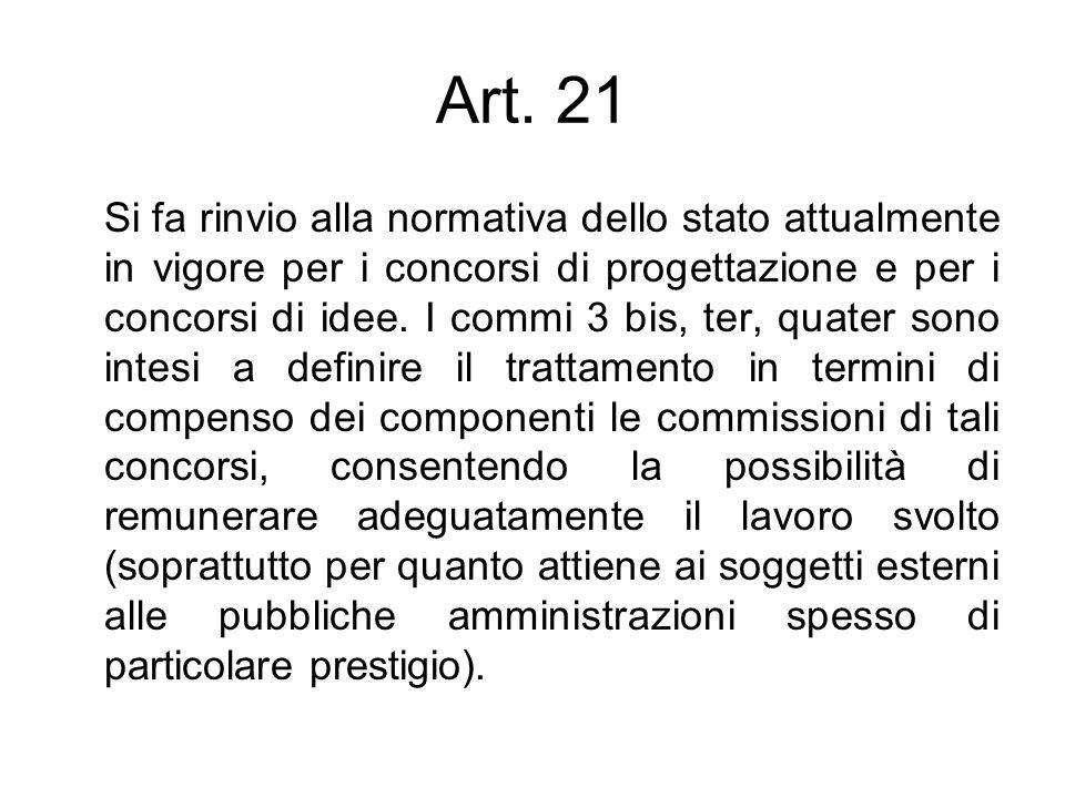 Art. 21 Si fa rinvio alla normativa dello stato attualmente in vigore per i concorsi di progettazione e per i concorsi di idee. I commi 3 bis, ter, qu