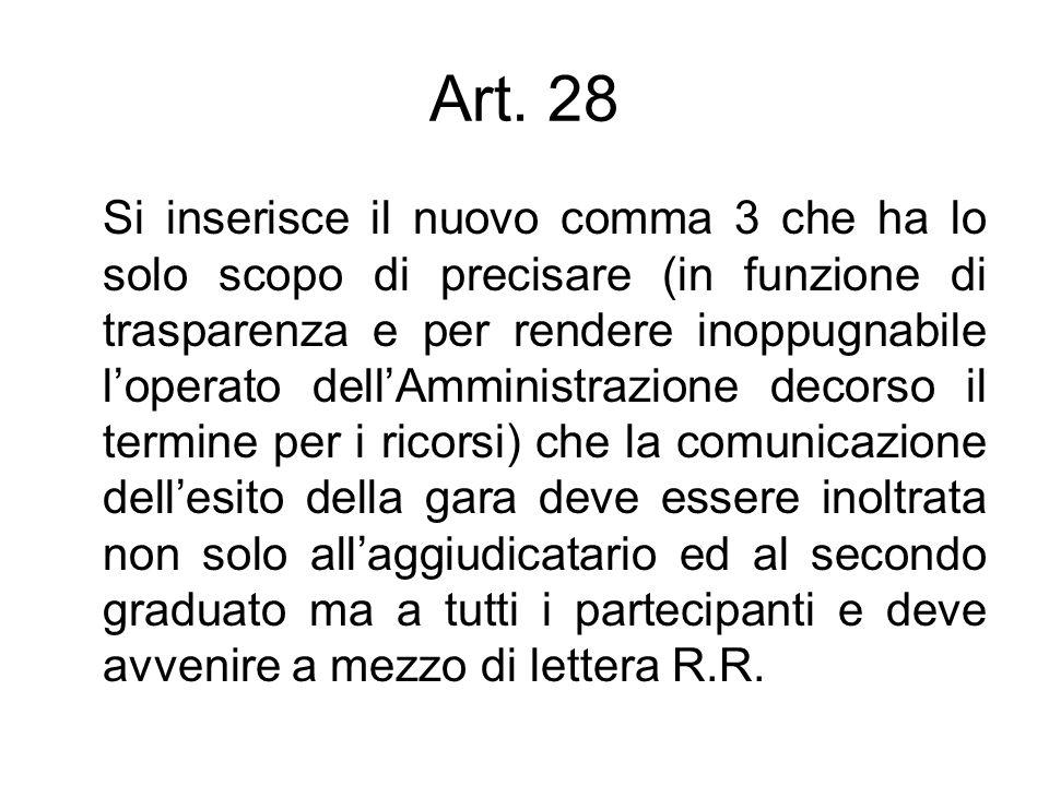 Art. 28 Si inserisce il nuovo comma 3 che ha lo solo scopo di precisare (in funzione di trasparenza e per rendere inoppugnabile loperato dellAmministr