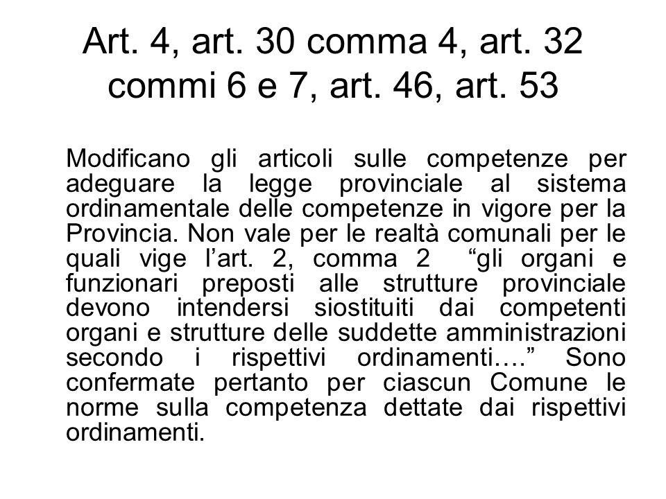 Art. 4, art. 30 comma 4, art. 32 commi 6 e 7, art. 46, art. 53 Modificano gli articoli sulle competenze per adeguare la legge provinciale al sistema o