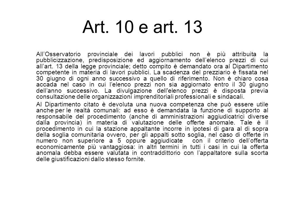 Art. 10 e art. 13 AllOsservatorio provinciale dei lavori pubblici non è più attribuita la pubblicizzazione, predisposizione ed aggiornamento dellelenc