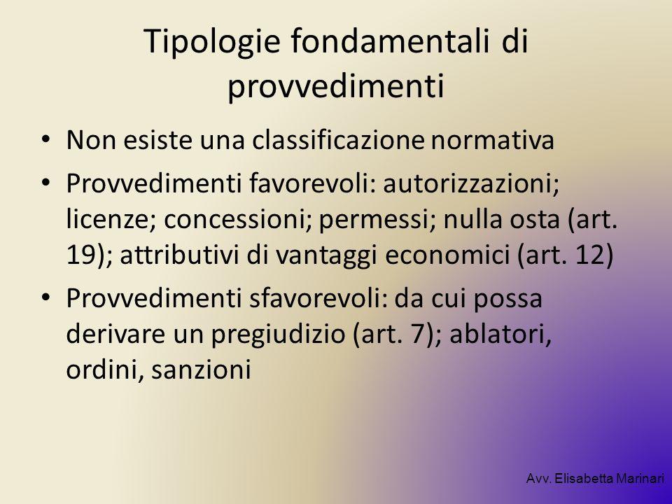 Tipologie fondamentali di provvedimenti Non esiste una classificazione normativa Provvedimenti favorevoli: autorizzazioni; licenze; concessioni; perme