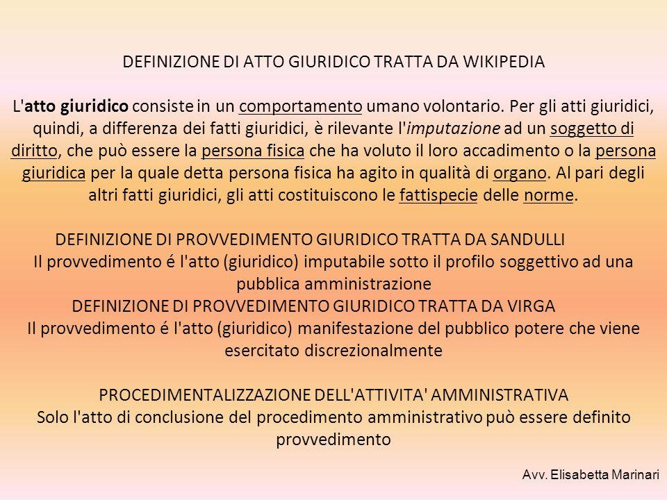 DEFINIZIONE DI ATTO GIURIDICO TRATTA DA WIKIPEDIA L'atto giuridico consiste in un comportamento umano volontario. Per gli atti giuridici, quindi, a di