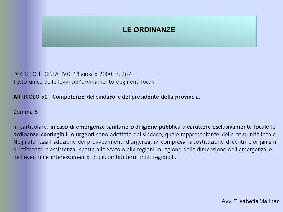 DECRETO LEGISLATIVO 18 agosto 2000, n. 267 Testo unico delle leggi sull'ordinamento degli enti locali ARTICOLO 50 - Competenze del sindaco e del presi