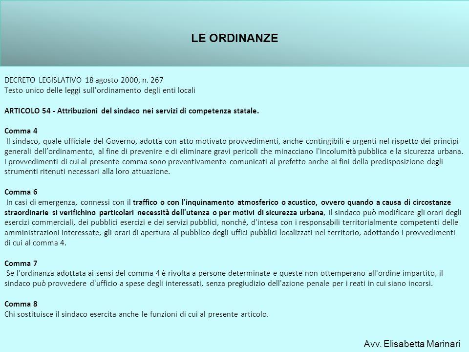 DECRETO LEGISLATIVO 18 agosto 2000, n. 267 Testo unico delle leggi sull'ordinamento degli enti locali ARTICOLO 54 - Attribuzioni del sindaco nei servi