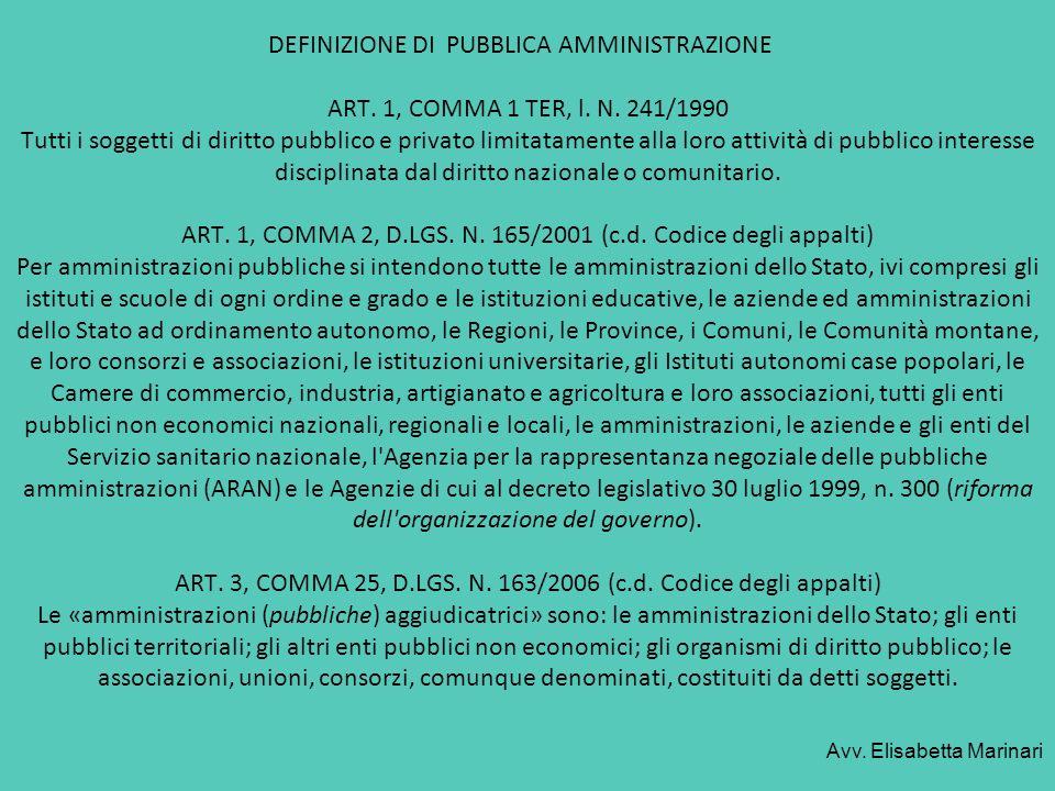 DEFINIZIONE DI PUBBLICA AMMINISTRAZIONE ART. 1, COMMA 1 TER, l. N. 241/1990 Tutti i soggetti di diritto pubblico e privato limitatamente alla loro att
