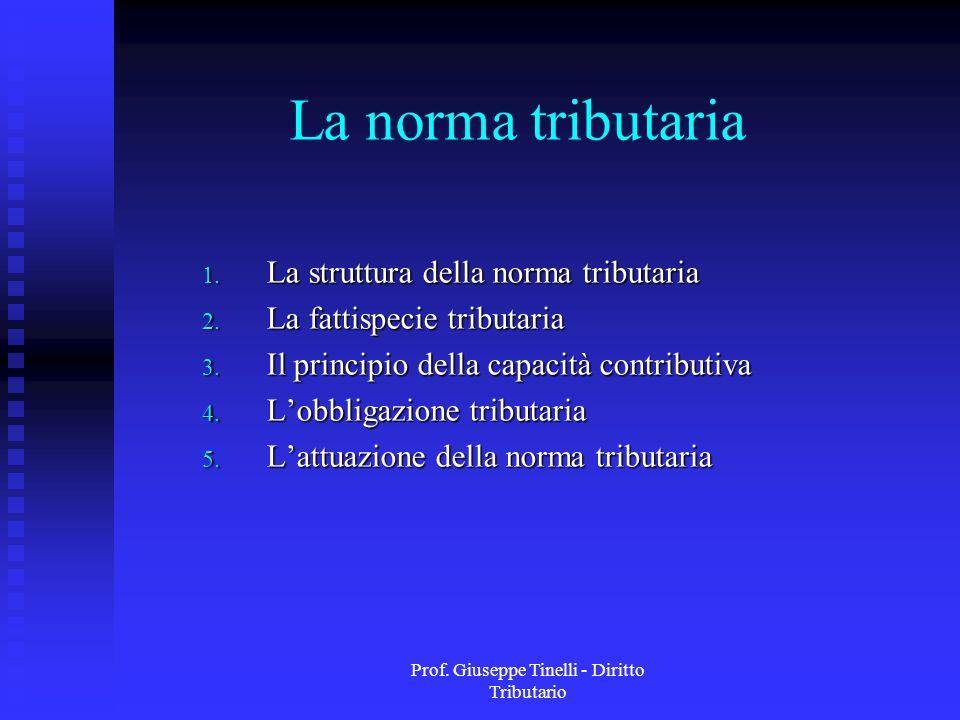 Prof. Giuseppe Tinelli - Diritto Tributario La norma tributaria 1. La struttura della norma tributaria 2. La fattispecie tributaria 3. Il principio de