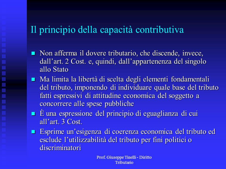 Prof. Giuseppe Tinelli - Diritto Tributario Il principio della capacità contributiva Non afferma il dovere tributario, che discende, invece, dallart.