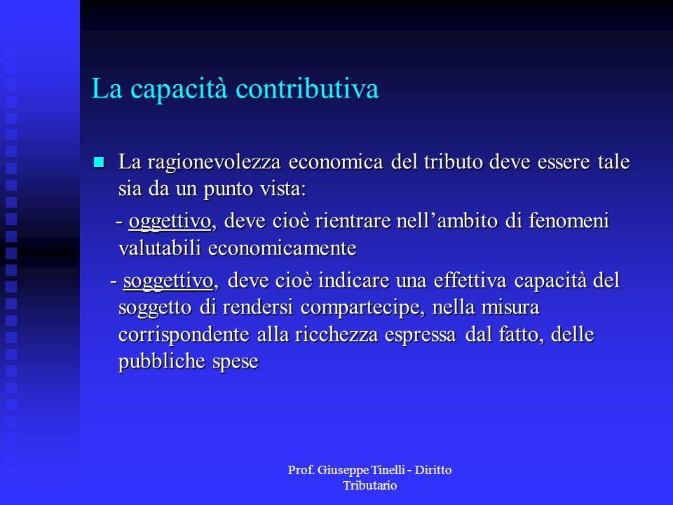 Prof. Giuseppe Tinelli - Diritto Tributario La capacità contributiva La ragionevolezza economica del tributo deve essere tale sia da un punto vista: L