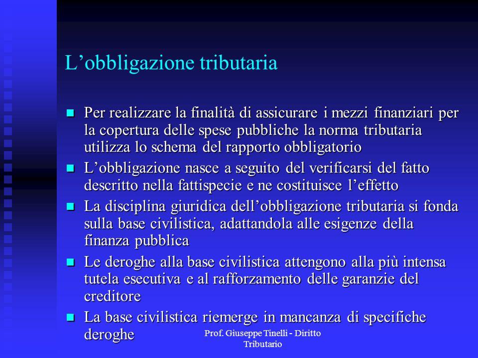 Prof. Giuseppe Tinelli - Diritto Tributario Lobbligazione tributaria Per realizzare la finalità di assicurare i mezzi finanziari per la copertura dell