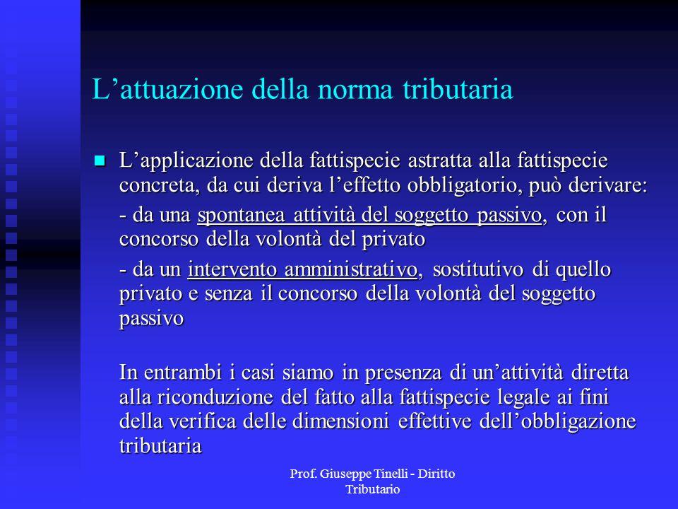 Prof. Giuseppe Tinelli - Diritto Tributario Lattuazione della norma tributaria Lapplicazione della fattispecie astratta alla fattispecie concreta, da