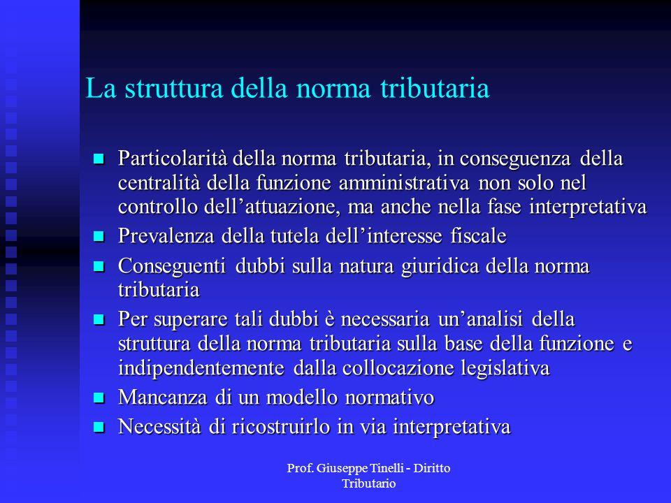 Prof. Giuseppe Tinelli - Diritto Tributario La struttura della norma tributaria Particolarità della norma tributaria, in conseguenza della centralità