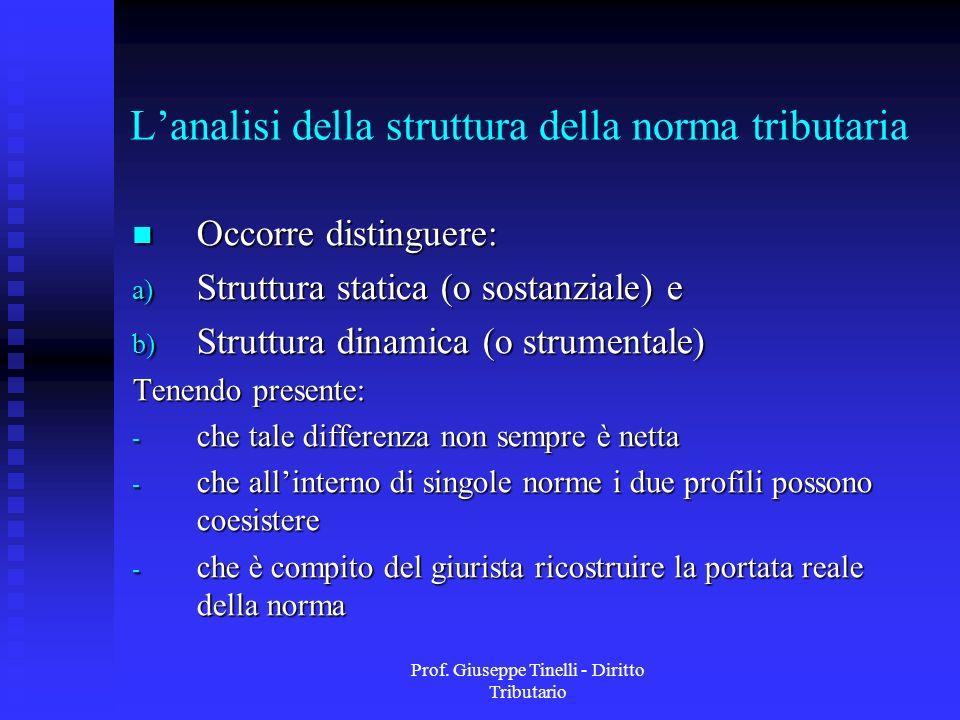 Prof. Giuseppe Tinelli - Diritto Tributario Lanalisi della struttura della norma tributaria Occorre distinguere: Occorre distinguere: a) Struttura sta