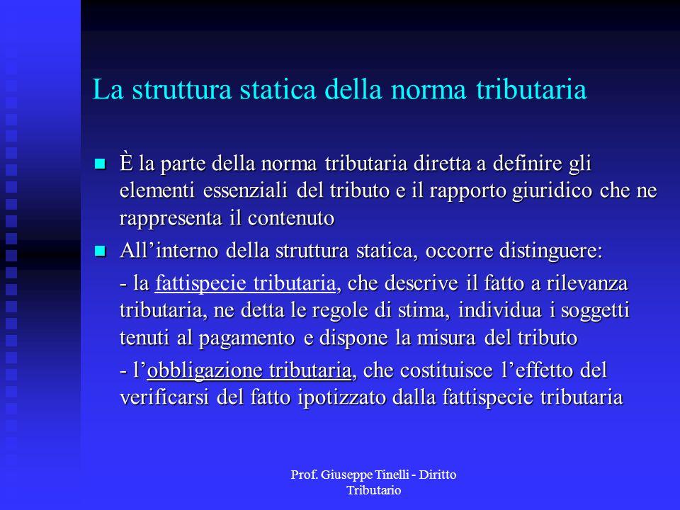 Prof. Giuseppe Tinelli - Diritto Tributario La struttura statica della norma tributaria È la parte della norma tributaria diretta a definire gli eleme