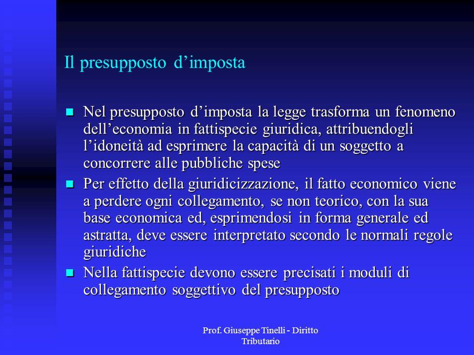 Prof. Giuseppe Tinelli - Diritto Tributario Il presupposto dimposta Nel presupposto dimposta la legge trasforma un fenomeno delleconomia in fattispeci