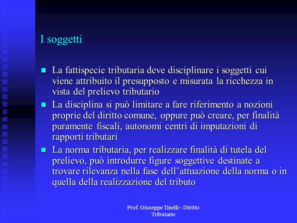 Prof. Giuseppe Tinelli - Diritto Tributario I soggetti La fattispecie tributaria deve disciplinare i soggetti cui viene attribuito il presupposto e mi