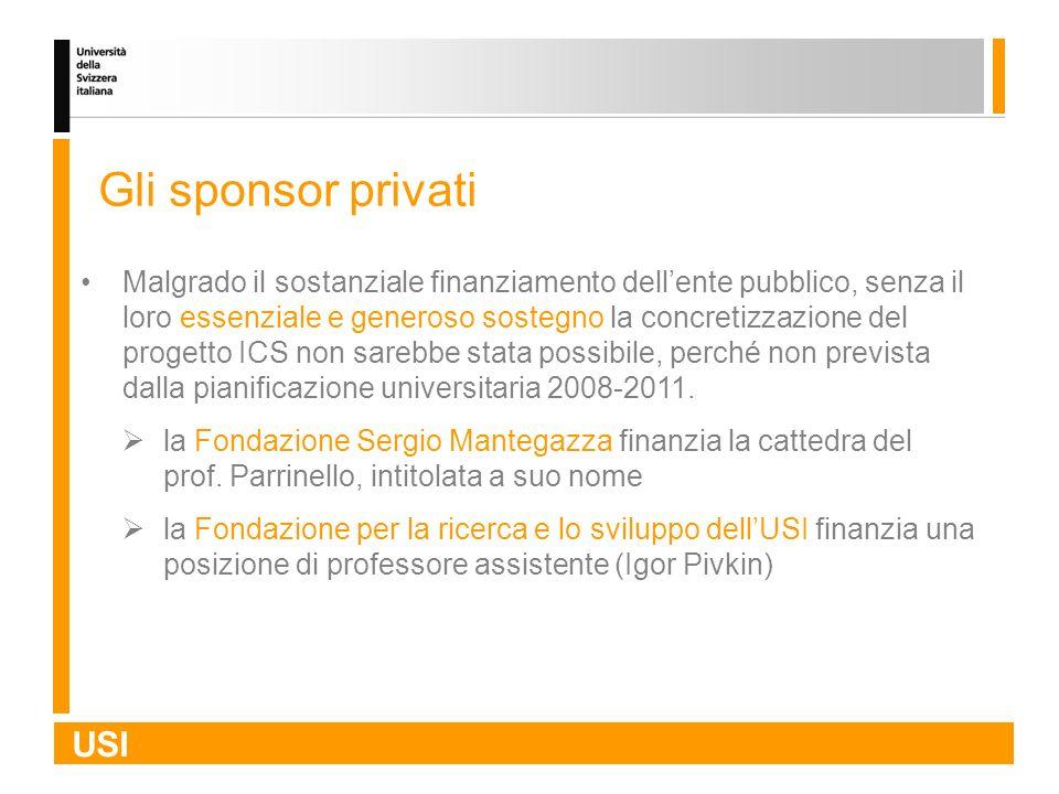 USI Gli sponsor privati Malgrado il sostanziale finanziamento dellente pubblico, senza il loro essenziale e generoso sostegno la concretizzazione del
