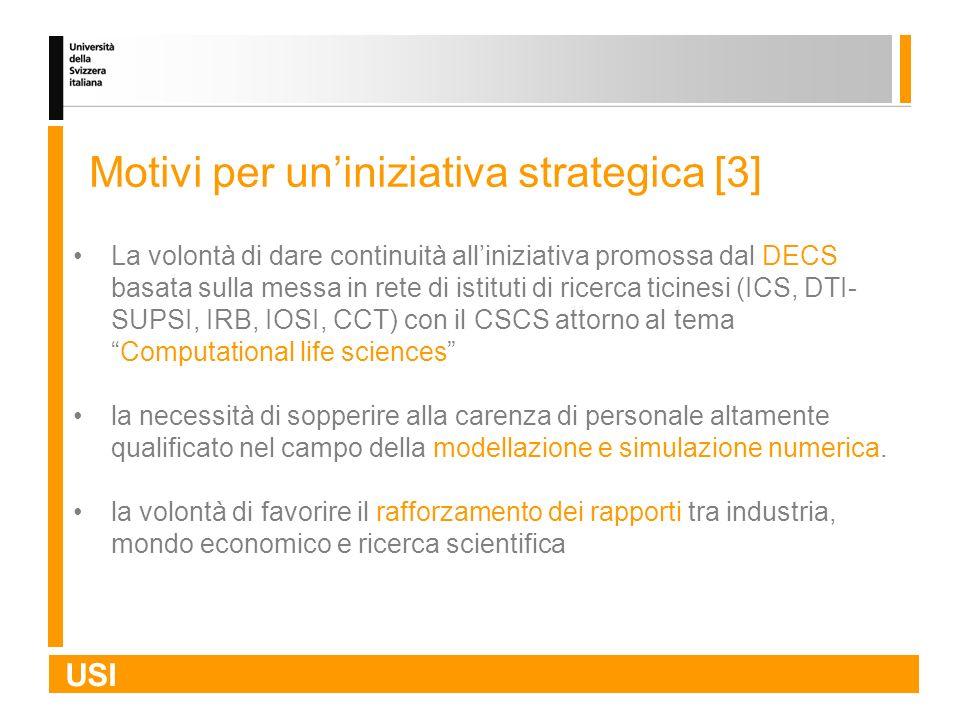 USI Motivi per uniniziativa strategica [3] La volontà di dare continuità alliniziativa promossa dal DECS basata sulla messa in rete di istituti di ric