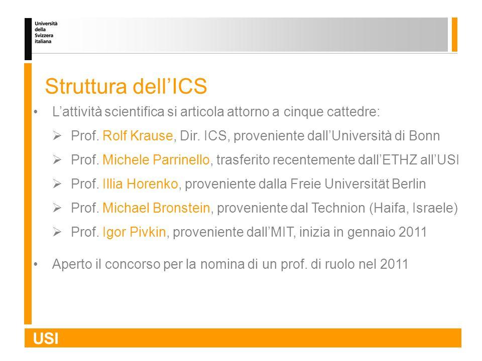 USI Struttura dellICS Lattività scientifica si articola attorno a cinque cattedre: Prof. Rolf Krause, Dir. ICS, proveniente dallUniversità di Bonn Pro