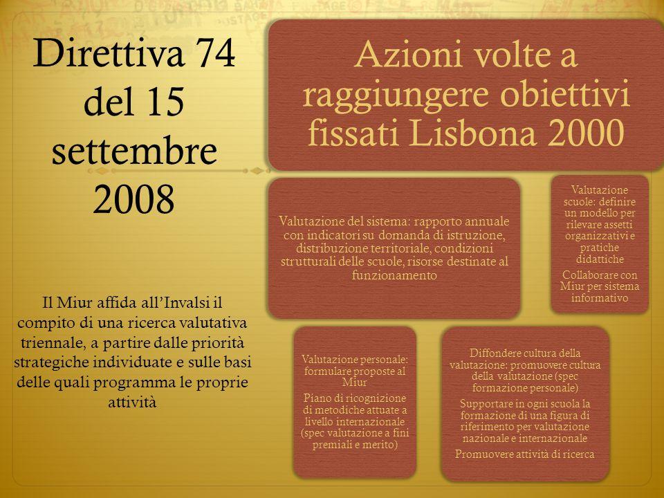 Direttiva 74 del 15 settembre 2008 Azioni volte a raggiungere obiettivi fissati Lisbona 2000 Valutazione del sistema: rapporto annuale con indicatori