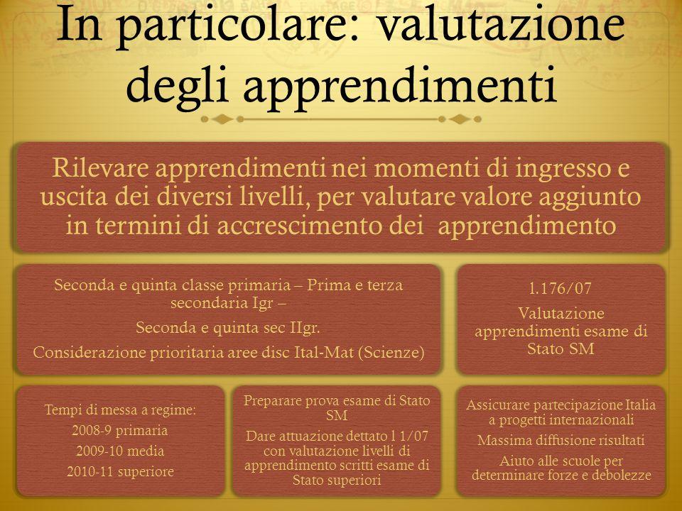 In particolare: valutazione degli apprendimenti Rilevare apprendimenti nei momenti di ingresso e uscita dei diversi livelli, per valutare valore aggiu