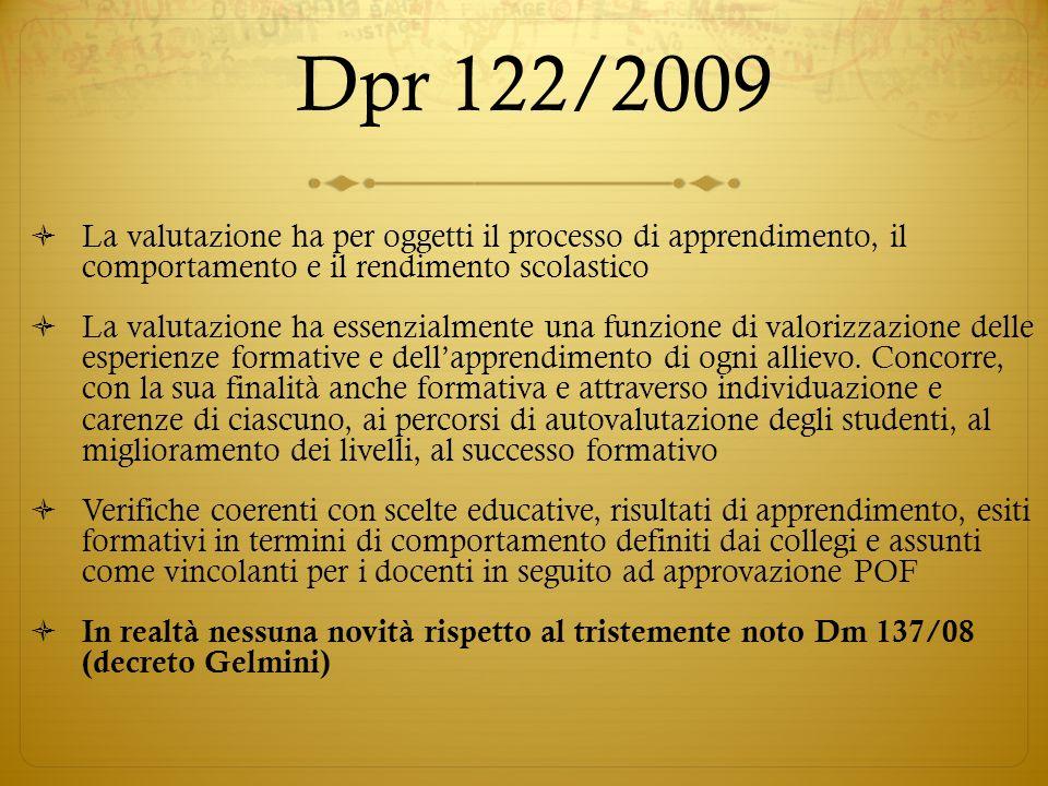 Dpr 122/2009 La valutazione ha per oggetti il processo di apprendimento, il comportamento e il rendimento scolastico La valutazione ha essenzialmente