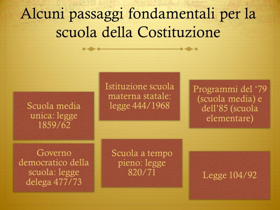 Scuola media unica: legge 1859/62 Istituzione scuola materna statale: legge 444/1968 Programmi del 79 (scuola media) e dell85 (scuola elementare) Gove