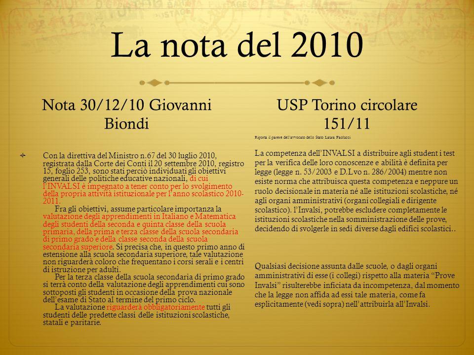 La nota del 2010 Nota 30/12/10 Giovanni Biondi Con la direttiva del Ministro n.67 del 30 luglio 2010, registrata dalla Corte dei Conti il 20 settembre