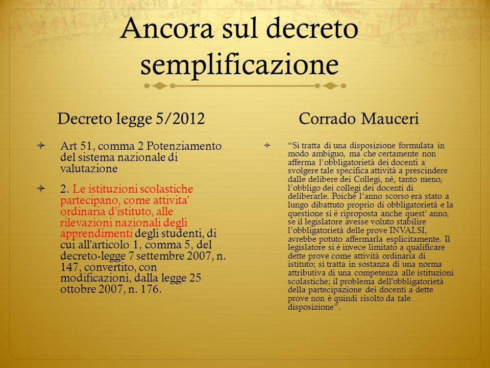 Ancora sul decreto semplificazione Decreto legge 5/2012 Art 51, comma 2 Potenziamento del sistema nazionale di valutazione 2. Le istituzioni scolastic