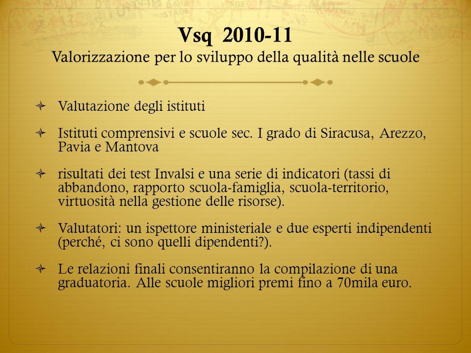 Vsq 2010-11 Valorizzazione per lo sviluppo della qualità nelle scuole Valutazione degli istituti Istituti comprensivi e scuole sec. I grado di Siracus