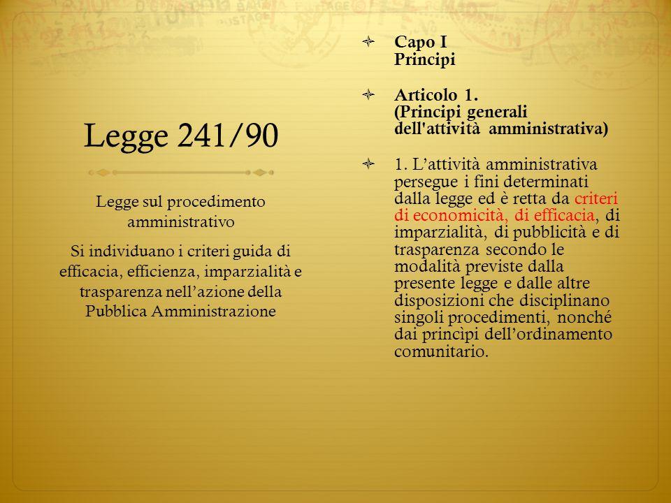 Legge 241/90 Capo I Principi Articolo 1. (Principi generali dell'attività amministrativa) 1. Lattività amministrativa persegue i fini determinati dall