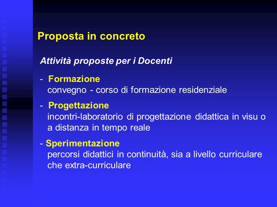 Proposta in concreto Attività proposte per i Docenti - Formazione convegno - corso di formazione residenziale - Progettazione incontri-laboratorio di
