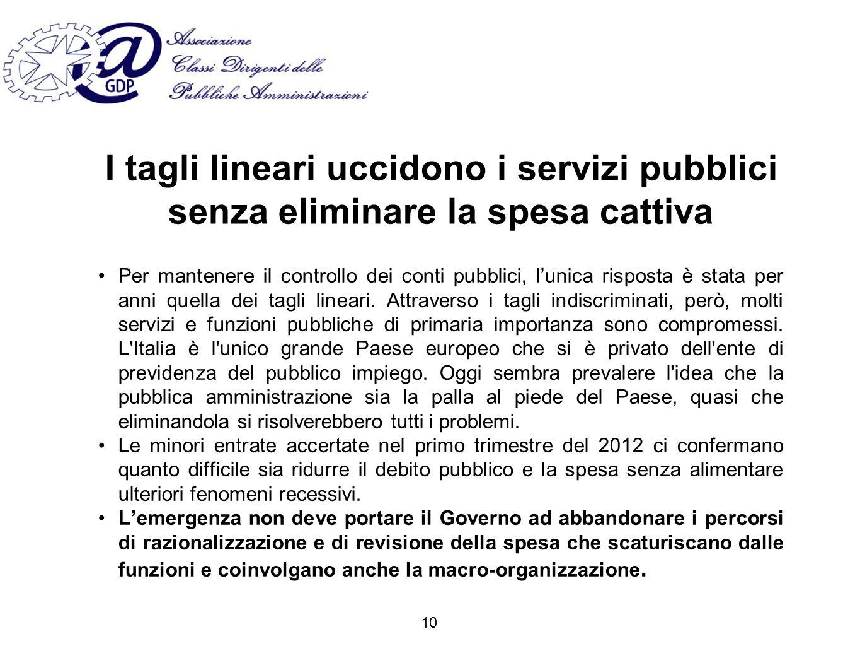 I tagli lineari uccidono i servizi pubblici senza eliminare la spesa cattiva Per mantenere il controllo dei conti pubblici, lunica risposta è stata per anni quella dei tagli lineari.