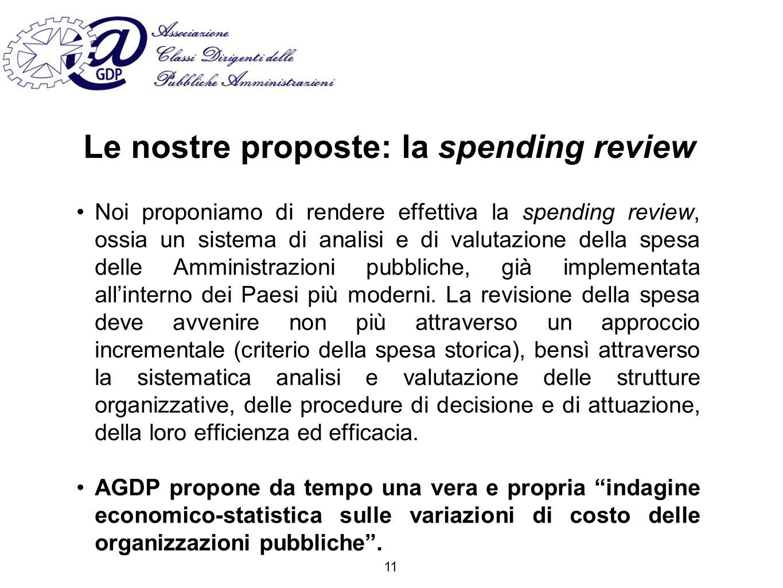 Le nostre proposte: la spending review Noi proponiamo di rendere effettiva la spending review, ossia un sistema di analisi e di valutazione della spesa delle Amministrazioni pubbliche, già implementata allinterno dei Paesi più moderni.
