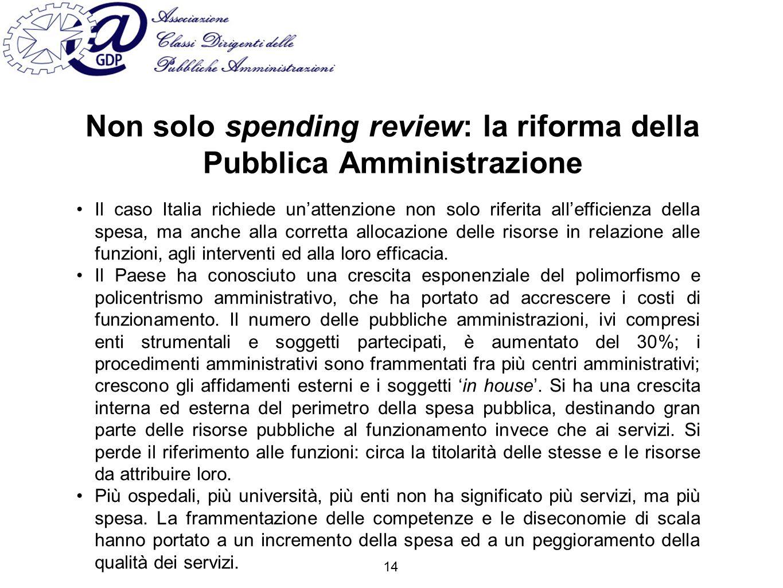 Non solo spending review: la riforma della Pubblica Amministrazione Il caso Italia richiede unattenzione non solo riferita allefficienza della spesa, ma anche alla corretta allocazione delle risorse in relazione alle funzioni, agli interventi ed alla loro efficacia.