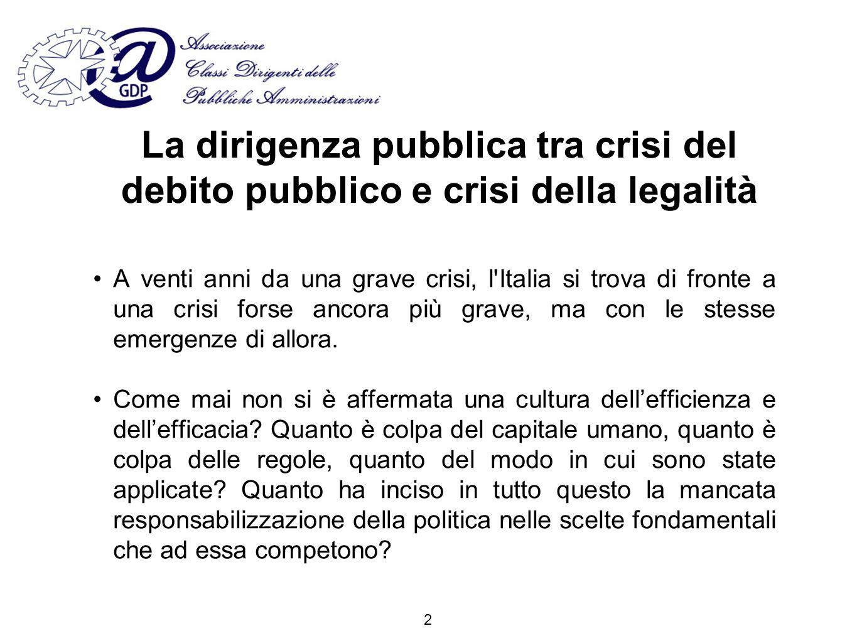 Per unAmministrazione autonoma ed imparziale Articolo 97 della Costituzione Le pubbliche amministrazioni, in coerenza con l ordinamento dell Unione europea, assicurano l equilibrio dei bilanci e la sostenibilità del debito pubblico.
