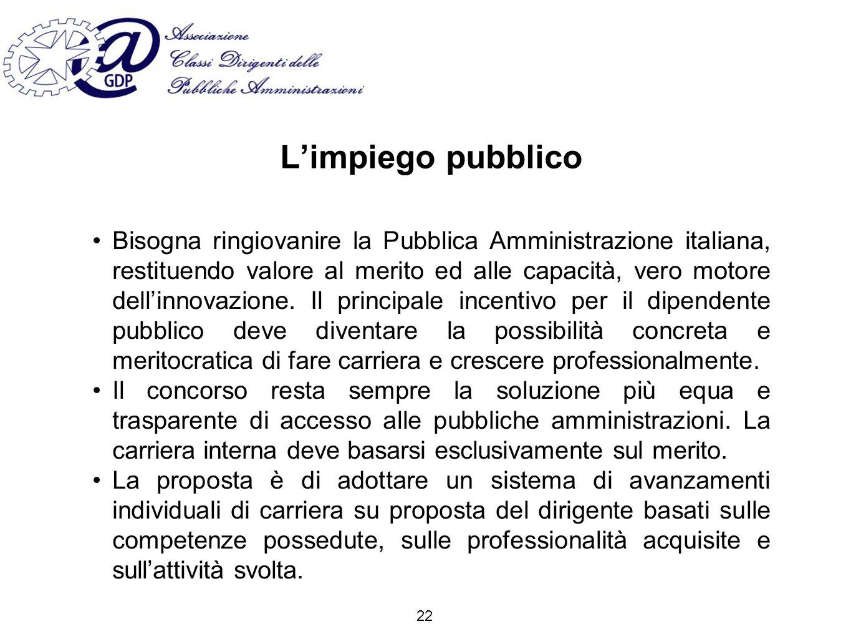 Limpiego pubblico Bisogna ringiovanire la Pubblica Amministrazione italiana, restituendo valore al merito ed alle capacità, vero motore dellinnovazione.