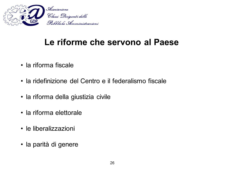 Le riforme che servono al Paese la riforma fiscale la ridefinizione del Centro e il federalismo fiscale la riforma della giustizia civile la riforma elettorale le liberalizzazioni la parità di genere 26