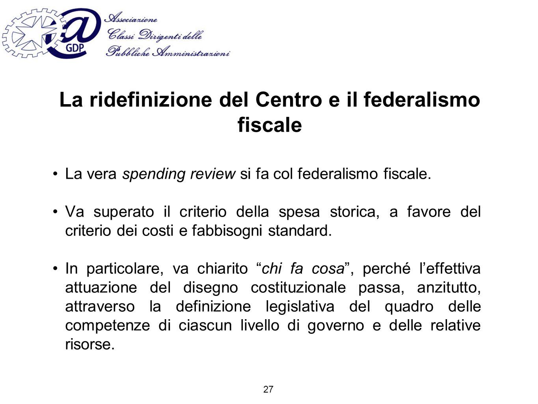 La ridefinizione del Centro e il federalismo fiscale La vera spending review si fa col federalismo fiscale.