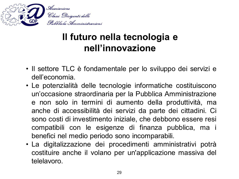 Il futuro nella tecnologia e nellinnovazione Il settore TLC è fondamentale per lo sviluppo dei servizi e delleconomia.