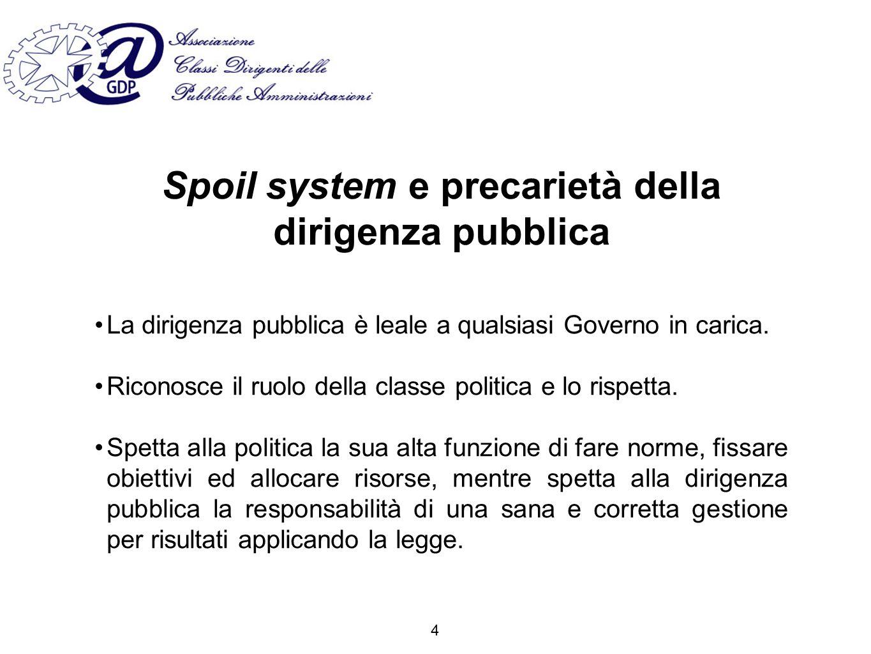 Spoil system e precarietà della dirigenza pubblica La dirigenza pubblica è leale a qualsiasi Governo in carica.