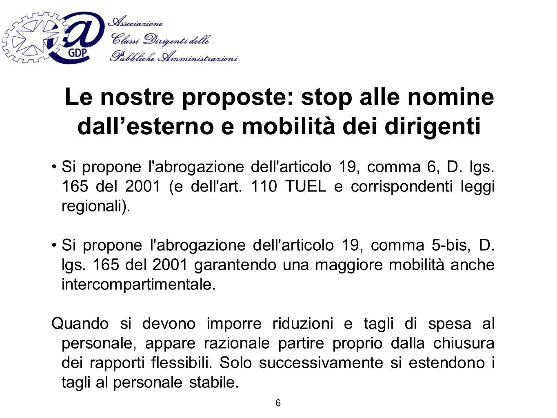 Le nostre proposte: stop alle nomine dallesterno e mobilità dei dirigenti Si propone l abrogazione dell articolo 19, comma 6, D.