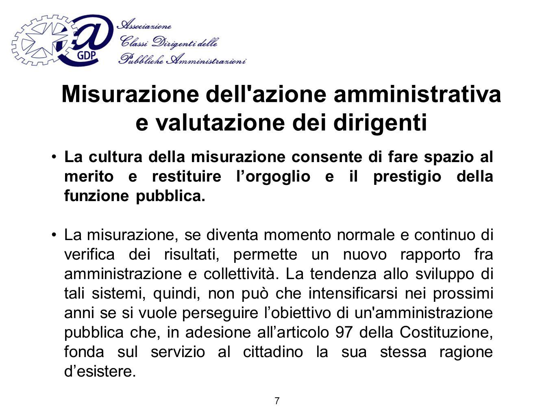 Misurazione dell azione amministrativa e valutazione dei dirigenti La cultura della misurazione consente di fare spazio al merito e restituire lorgoglio e il prestigio della funzione pubblica.