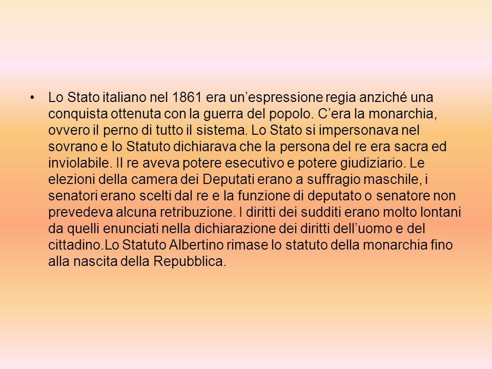 REGNO DITALIA Statuto Albertino, sudditi, fascismo… Il testo dello Statuto Albertino fu scritto in pochi giorni da una commissione di giuristi che si ispirarono alla costituzione francese del 1830.